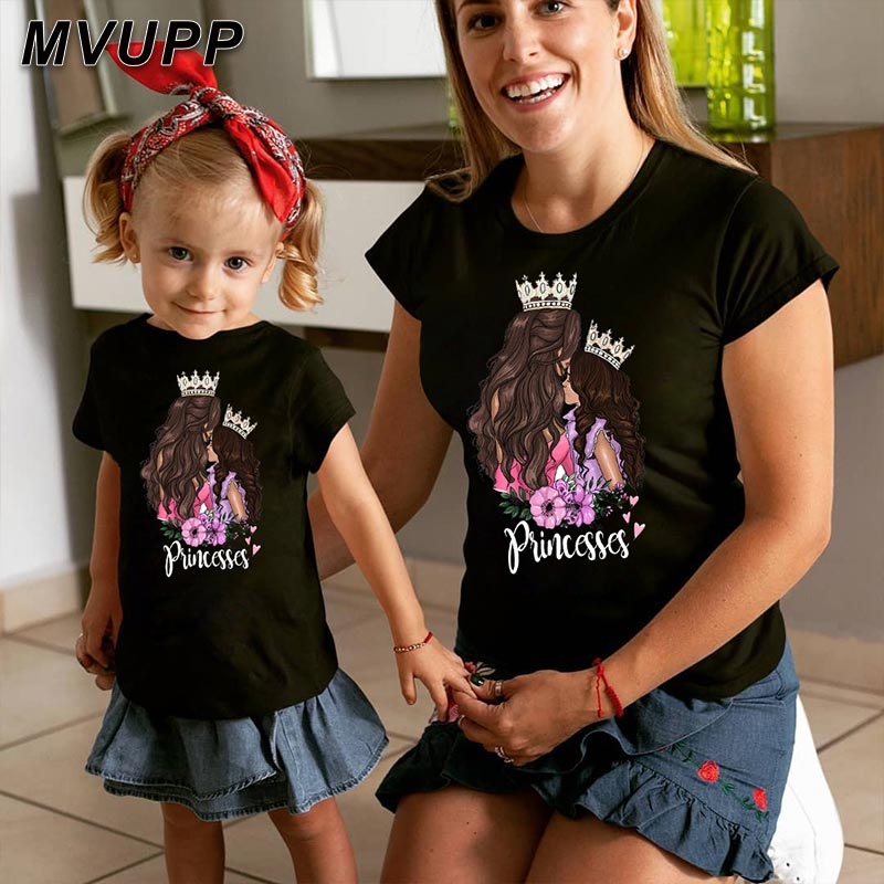 Princess Print Family T Shirt For Mother Daughter Matching Outfits Mommy And Me Clothes Mom Girl Mum Baby Big Little Sister Mama