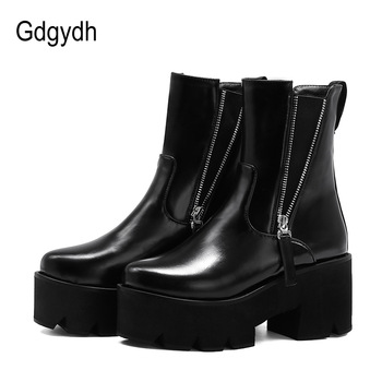 Gdgydh Sexy Zipper Women Boots Platform Heel Square Heel Comfort Shoes Female Black Patent Leather Ankle Boots Autumn European gdgydh spring luxury shoes women boots designer thick heel platform female ankle boots sexy buckle comfortable round toe boots
