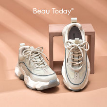 BeauToday Women Chunky Sneakers Synthetic Leather Mesh Patchwork Round Toe Lace-Up Thick Sole Ladies Breathable Shoe 29402