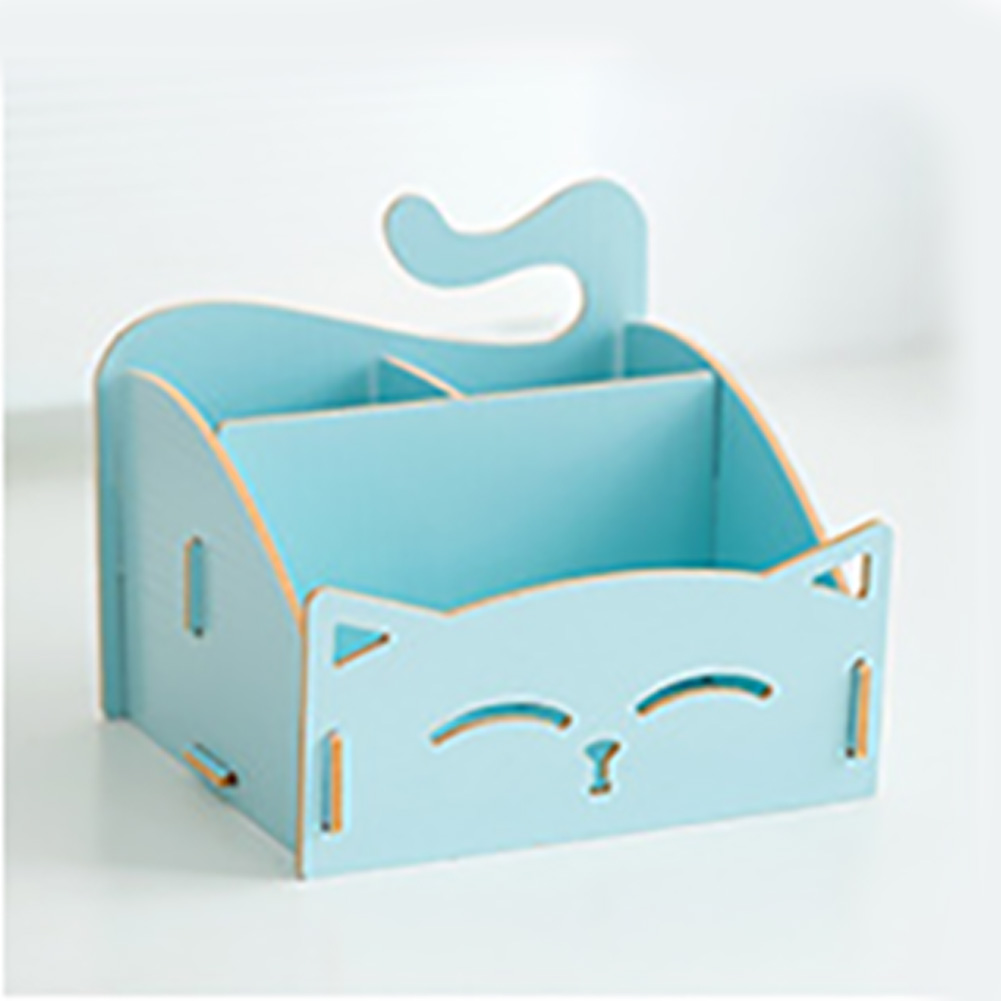Solid Wood Pen Holder Combination Assembling Student Office Space Saving Storage Box Stationery Home Pencil Stand Cat Pattern