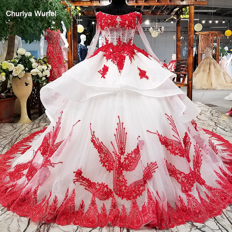 Ls32119 Red Flowers Ivory Beauty Evening Dress Off Shoulder Lace