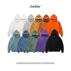 Image 5 - SODAWATER Men Hoodies Japanese Street Style 11 Pure Colors Hooded Sweatshirt Pullover Thick Warm Oversize Hoodie Men Tops 167W17