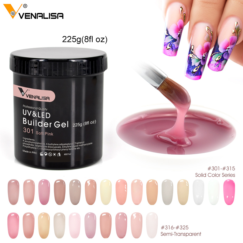 Venalisa Brand 225g French Acrylic Nails Soak Off Led Camouflage Color Hard Jelly Fast Dry Nail Building Extend Gum Builder Gel