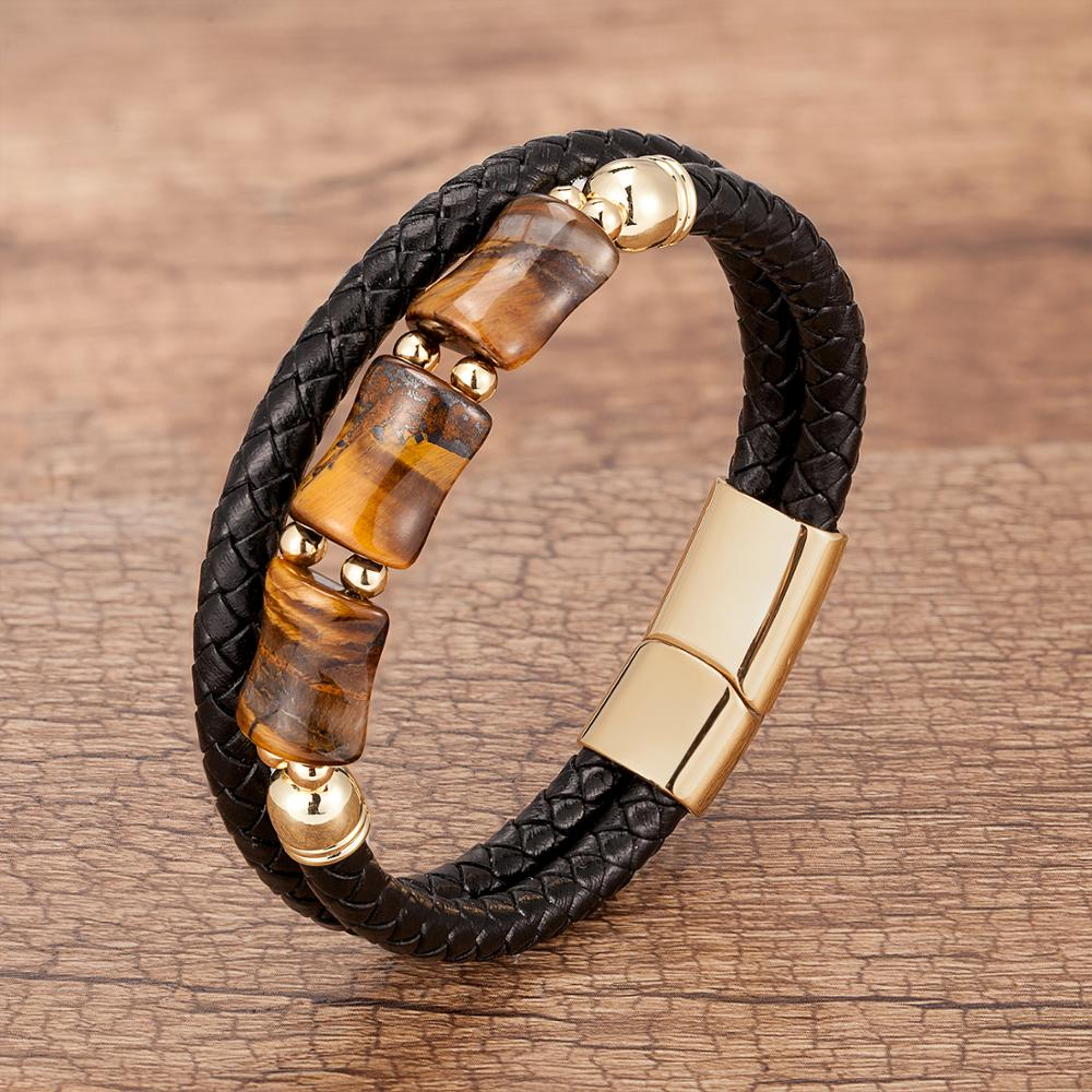 100%Natural Tiger Eye Stone Chakra Jewelry Charm Stainless Steel Men's Genuine Leather Braclets Natural Stone Bracelet Wholesale