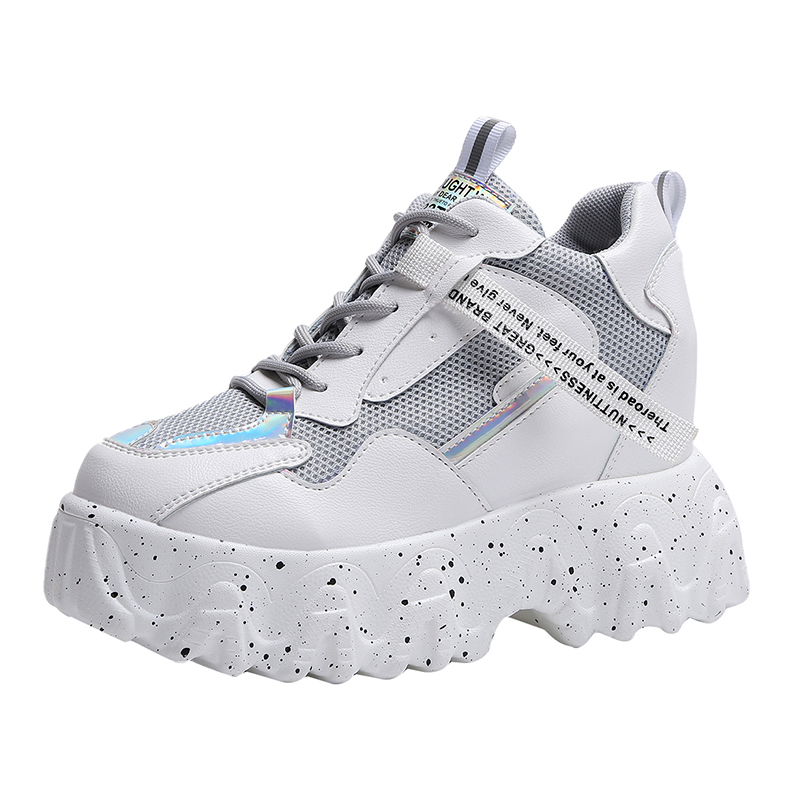 2020 Spring Summer New Breathable Air Mesh Casual Shoes Women Chunky Platform Sneakers Girls Student White Running Shoes Woman