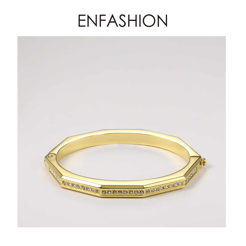 ENFASHION קריסטל גיאומטרי שרוול צמידי צמידים לנשים אביזרי נירוסטה תכשיטי אופנה מתנה Dropshipping B2043