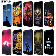 IYICAO Marvel Thanos Infinity Soft Black Silicone Case for iPhone 11 Pro Xr Xs Max X or 10 8 7 6 6S Plus 5 5S SE