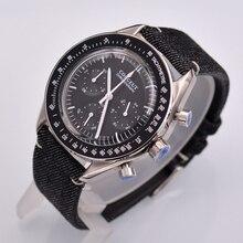 Corgeut 40mm novo relógio de quartzo de luxo masculino função cronógrafo caso polido.