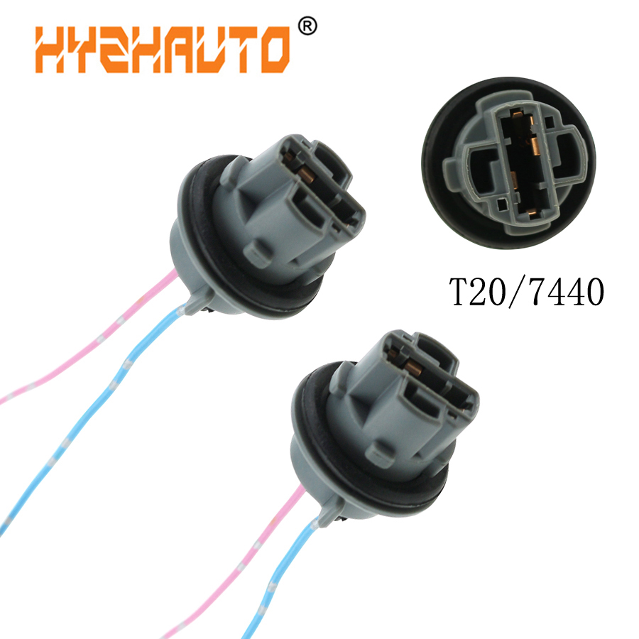 HYZHAUTO 2Pcs T20 7440 7443 Bulb Socket Connector W21W W21/5W Base Holder Harness Wiring Parking Light Stand Adapter