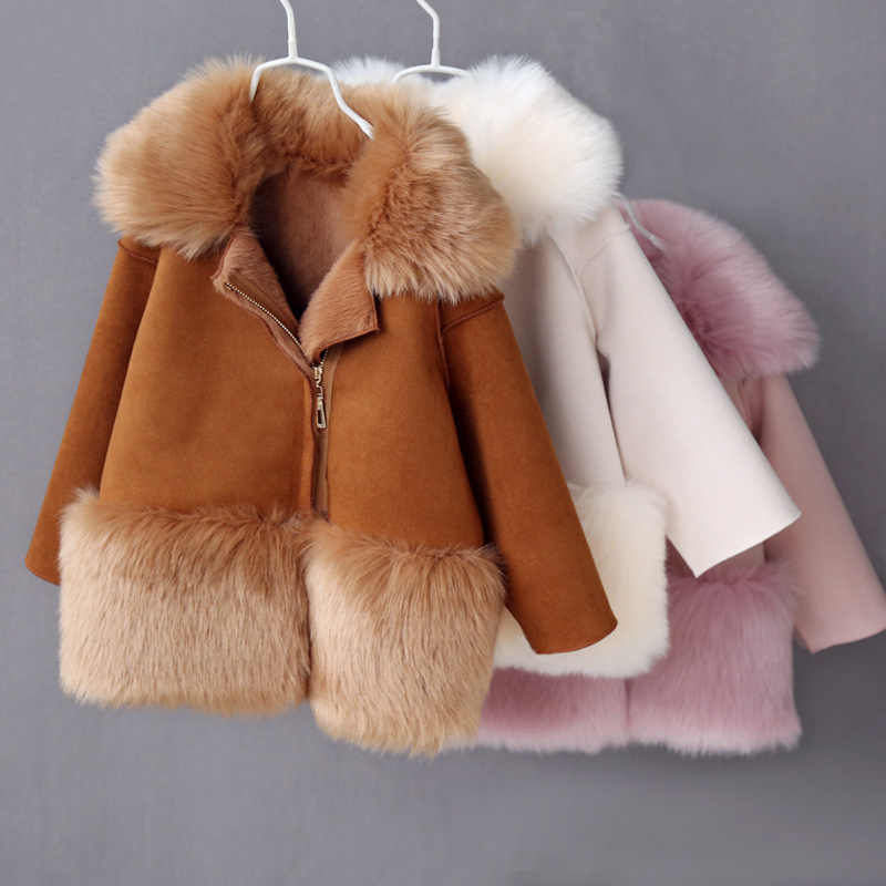 2019 Winter Kids Jackets Fur Leather Girl Coats Fleece Warm Children's Outerwear Windproof Boys Jacket Teenage Girls Snowsutis
