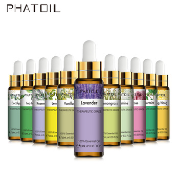 PHATOIL 10ML with Dropper Lavender Eucalyptus Vanilla Pure Natural Essential Oils Rose Jasmine Ylang Ylang Diffuser Aroma Oil 1
