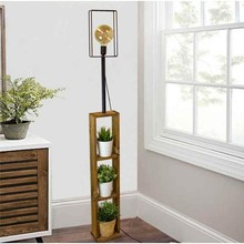 Modern Lighting with Floor Lamp Bookcase Special Wooden Design Stylish Interior Spotlight