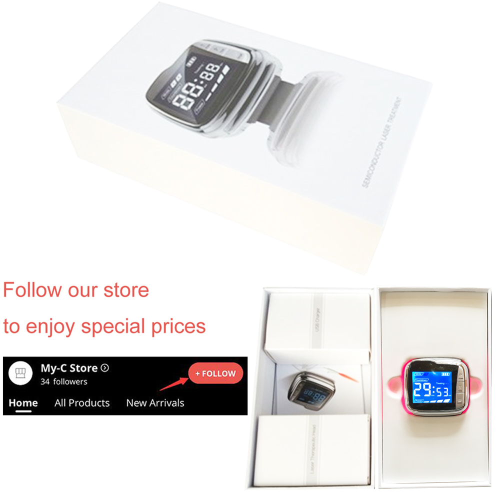 Купить с кэшбэком 650nm Cold Laser Therapy Wrist Watch for Hypertension and Deafness Treatment.No side effects
