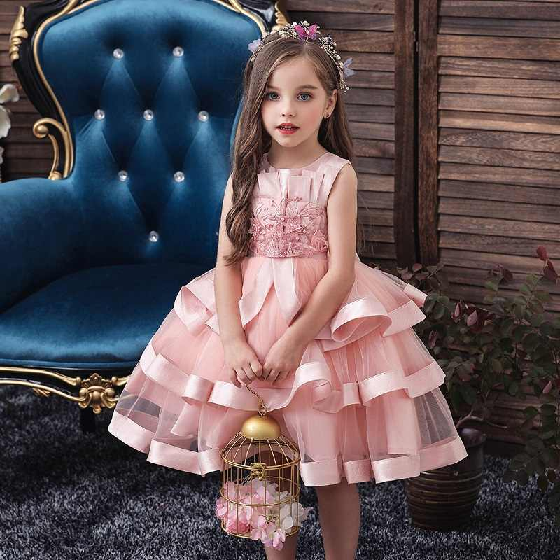 Bloem Meisje Prinses Bruiloft Kraal Banket Peng Jurk Meisje Christmas Party Eucharistie formele party dress vestidos de fiesta