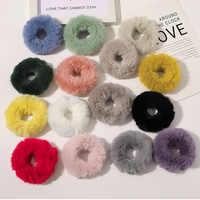 Nueva Banda elástica para el pelo de invierno Scrunchie Soft Faux Fur mujeres niñas Ponytai titular cuerda de goma para cabello banda accesorios para el cabello