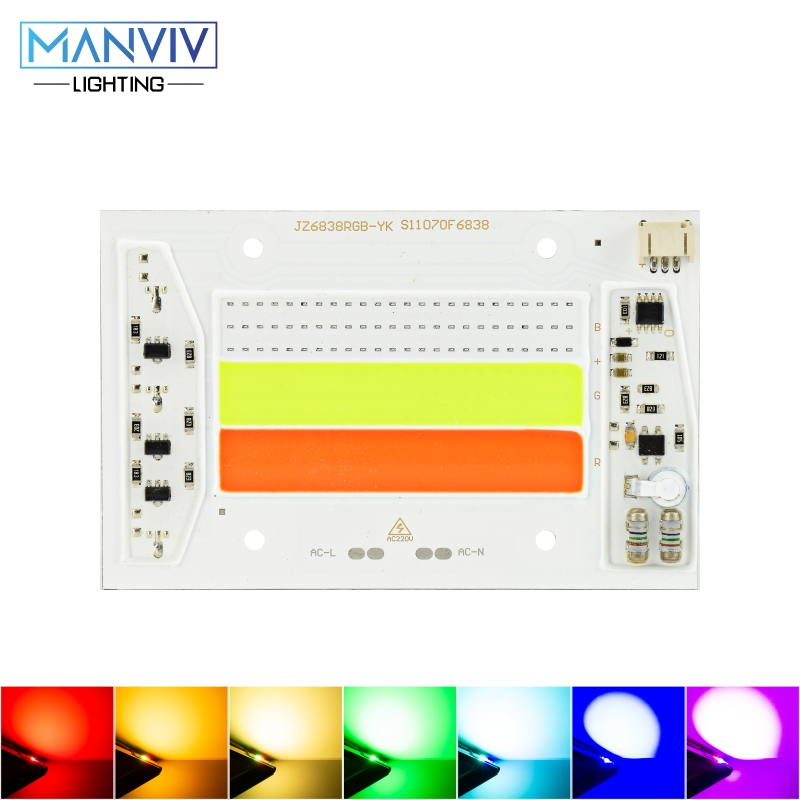 High Power LED COB Chip 30W 50W 220V AC RGB LED Light Bead No Need Driver Adjustable Lamp For Holiday Lights Home Decoration