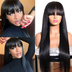 Mstoxic Straight Human Hair Wigs With Bangs Pre Plucked Full Machine Made Wigs Peruvian Remy Hair Wig Natural Color 150% Denisty(China)