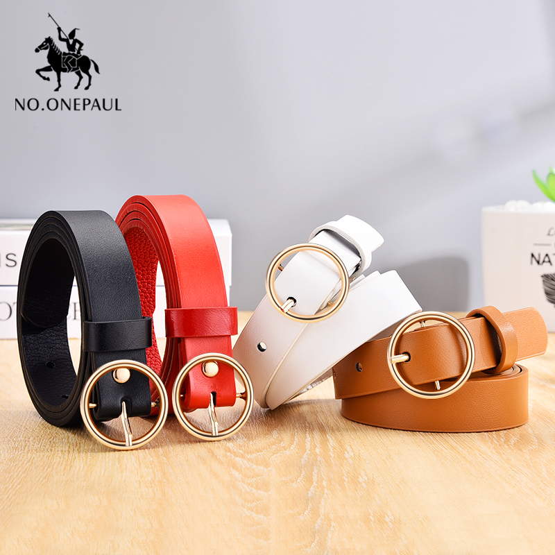 NO.ONEPAUL Ladies Leather Belt Hipster Accessories Casual Pin Buckle Decoration Fashion Popular Vintage Alloy Round Buckle Belt