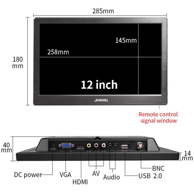 """13.3"""" HD monitor pc 1366x768 portable monitor LCD TV Display PS4 with HDMI VGA USB AV BNC 12/10.1 inch gaming monitor 4"""