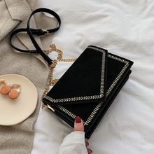 Black suede Leather chain bag design Crossbody Bags Women Sm