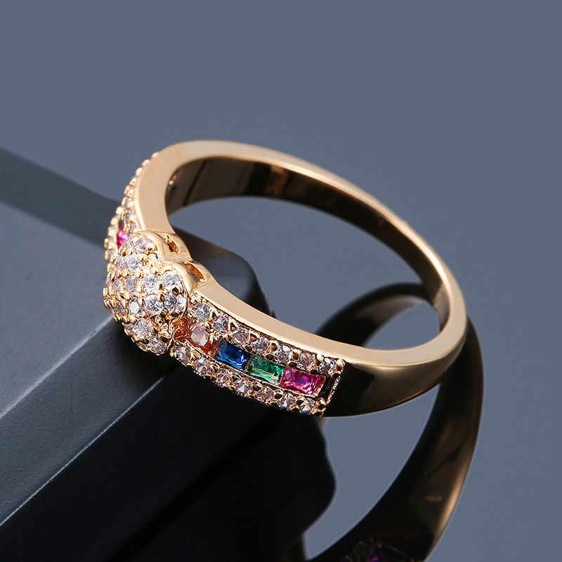 คลาสสิกเงินสีเหลืองทองสีงานแต่งงานแหวนหญิงน่ารักดอกไม้สีสัน Zircon แหวนแฟชั่นสีขาว Love แหวน