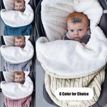 Knitting Warm Baby Stroller Sleeping Bag Outdoor Quilt Envelope for Newborns Accessories Cot Blanket