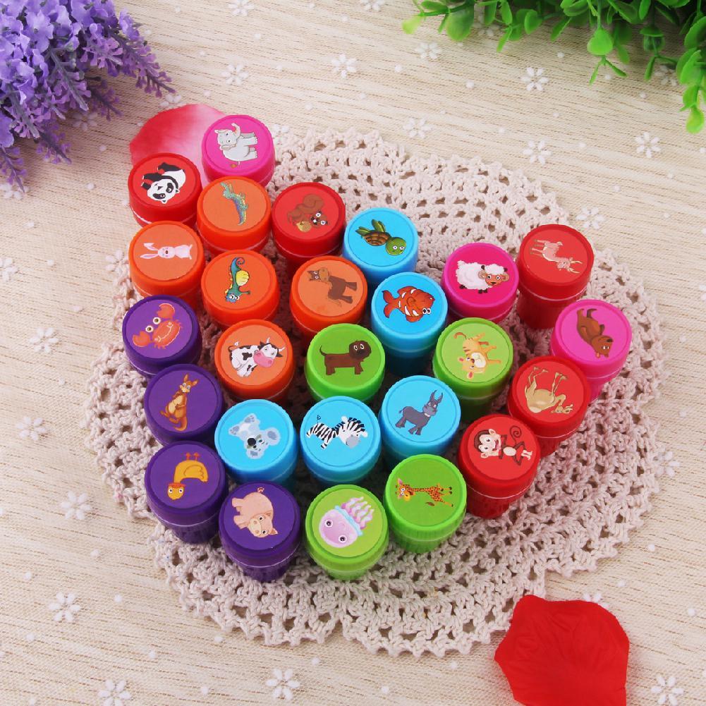 None 26Pcs/Set Rubber Stamp Set Kids Funny Plastic Self Inking Stamper Toys Baby DIY Crafts
