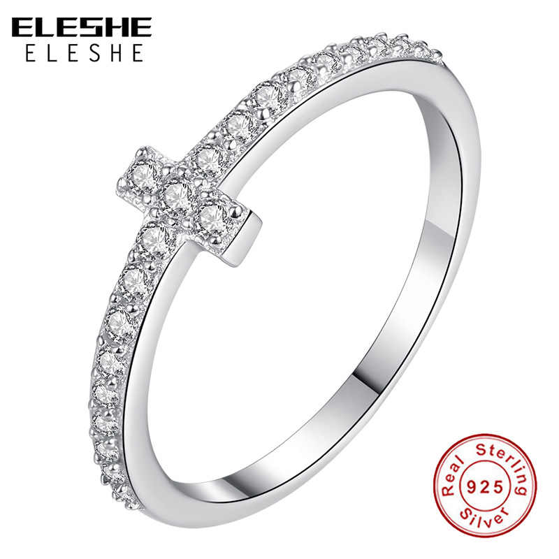 ELESHE Vintage 925 Sterling Silver Faith Cross แหวนคริสตัลเครื่องประดับหมั้นแหวนเงินผู้หญิงเครื่องประดับ Bijoux