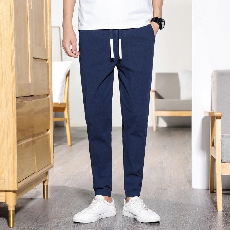 2019 Summer Men's Linen Pants Hip Hop Ankle-Length Men Pencil Pants Solid Color Breathable Comfort Fashion Linen Pants Men K538