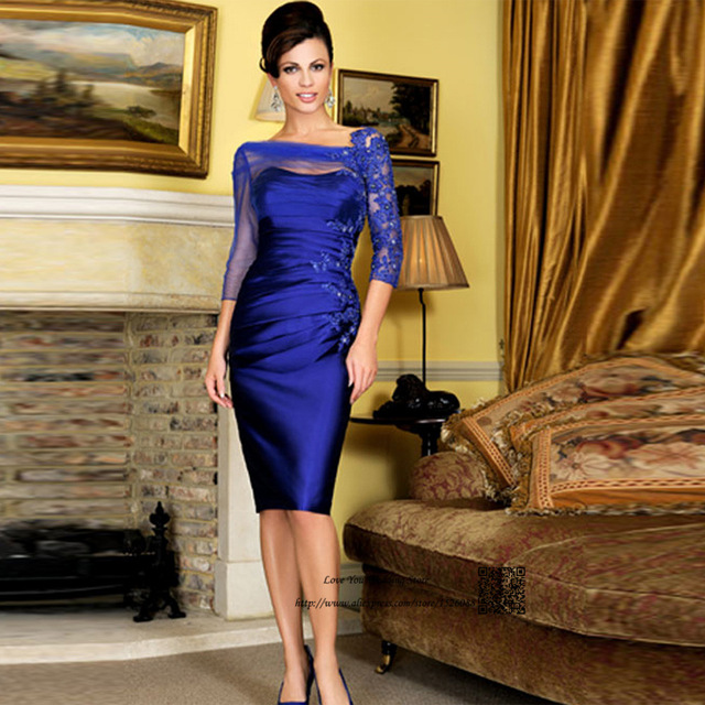 Royal Blue Mother Of The Bride Dresses Sheath 3/4 Sleeves Appliques Beaded Plus Size Short Groom Mother Dresses For Wedding