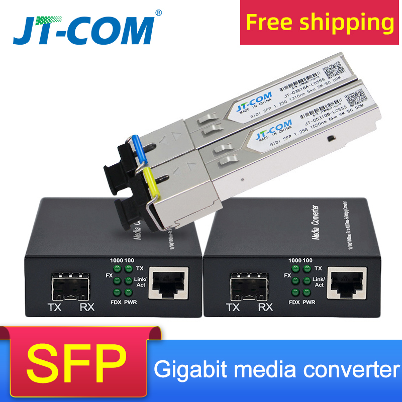 Gigabit Media Converter SFP Transceiver Module 5KM 1000Mbps Fast Ethernet RJ45 To Fiber Optic Switch 2 Port SC Single Mode