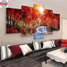 Elmas nakış 5 adet Orman kırmızı ağaç şelale Manzara Ev Dekor Modüler Arka Plan Resim Modern elmas boyama mozaik