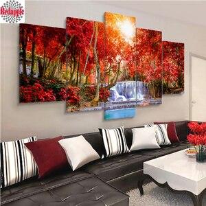 Image 1 - Elmas nakış 5 adet Orman kırmızı ağaç şelale Manzara Ev Dekor Modüler Arka Plan Resim Modern elmas boyama mozaik