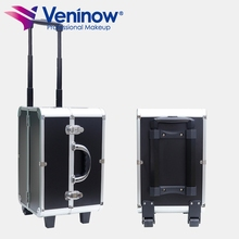 Professional 2-in-1 make up professional aluminum makeup rolling case trolley aluminum cosmetic box beauty case