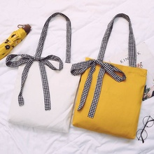 Canvas bag lady's single shoulder black and white checked bow lady's bag chic bag classic double shoulder strapes shopping bag