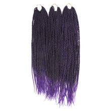 SOKU Purple Ombre Braiding Hair Extensions Synthetic Senegalese Twist 18 20 22 Inch Fake Hair for Braids Crochet Braid 3Pcs/Lot(China)