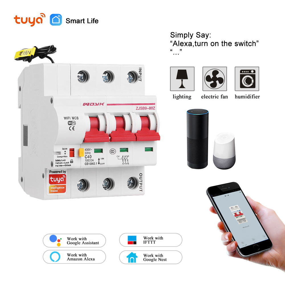 Smart Life(tuya) 3P WiFi Smart Circuit Breaker Overload Short Circuit Protection With  Amazon Alexa Google Home For Smart Home