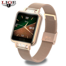 Ini Fashion Smart Watch Wanita Alloy Stainless Steel Tahan Air Wanita Smartwatch Android Ios Heart Rate Tekanan Darah Monitor(China)
