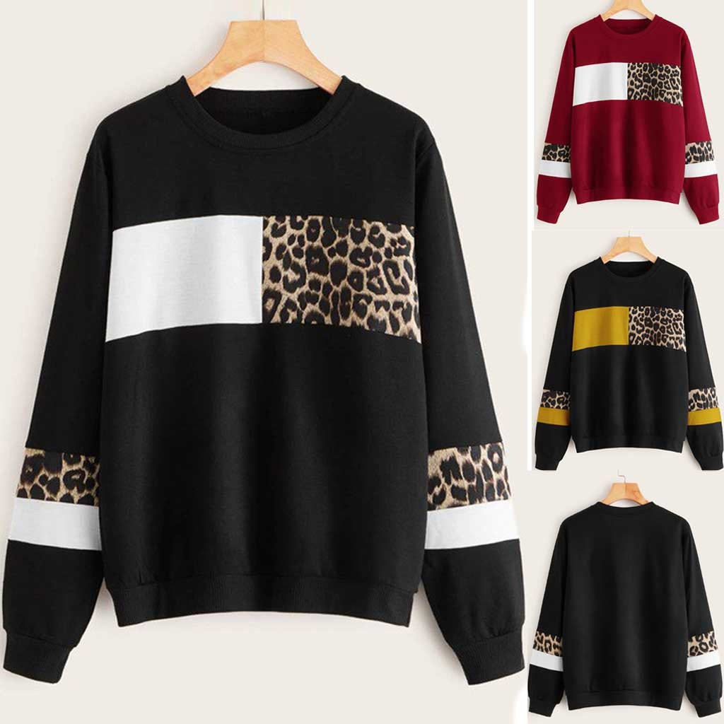 Women Leopard Print O Neck Blouse Tops Cotton Long Sleeve Sweatshirts Plus Size Oversize Femme Tops Patchwork Printed#40