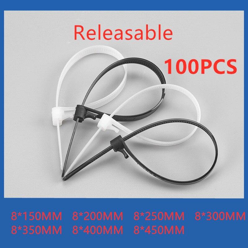 100Pcs Releasable Nylon Cable Ties Slipknot Tie Reusable Plastic Tie Wrap Strap.
