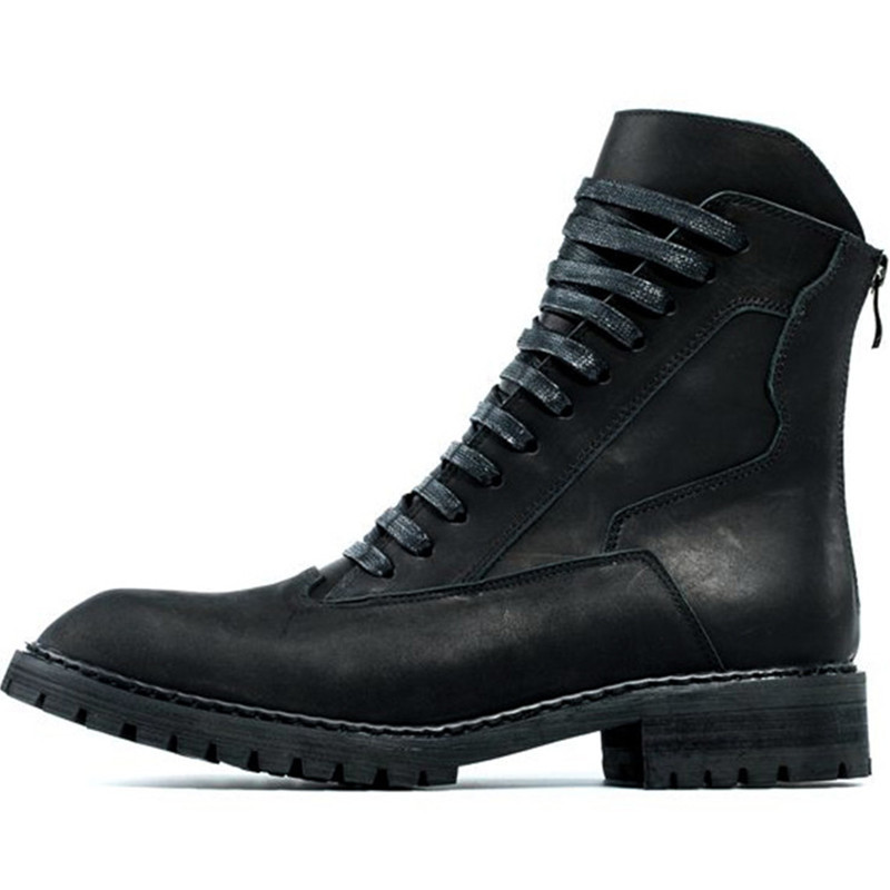 Vintage Spring Men Thick Platform Genuine Leather Boots Lace Up Military Boots Retro High Top Pointed Toe Punk Male Shoes
