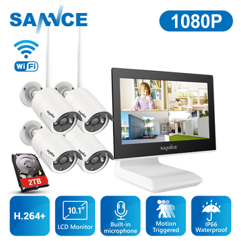 цена на SANNCE 2MP 1080P CCTV System 4CH HD Wireless NVR Kit with 10.1'' LCD Screen Night Vision 4pcs IP Wifi Camera Security System