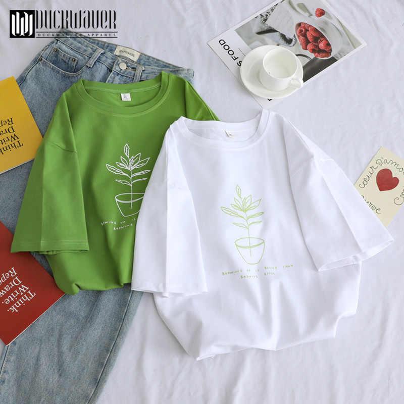 Duckwaver Estate Minimalista Delle Donne di Stampa di Base della Maglietta di Alta Qualità Morbido Allentato T-Shirt 90s Dolce Paio di Vestiti Femminile Magliette e camicette Tee