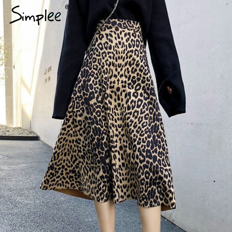 Simplee Vintage Leopard Print Midi Skirt Women Elastic Waist Autumn Winter Female A-line Skirts Fashion Streetwear Ladies Skirts