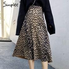 Simplee Vintage leopardo impresión midi Falda Mujer cintura elástica Otoño Invierno mujer A line faldas moda streetwear señoras faldas