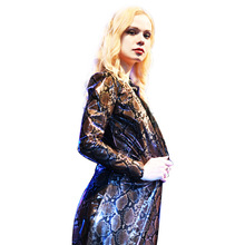 Cloak Coat Long-Cape Punk Plus-Size Poncho And Mujer Capa Glue Pvc-Snake-Grid Stage Femme