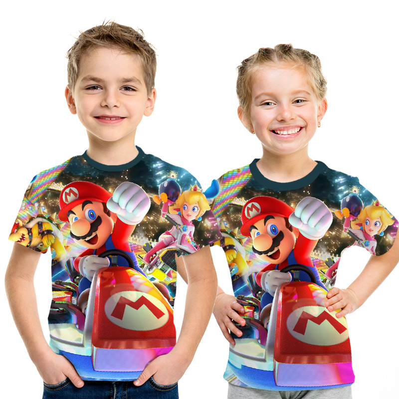 2019 New Game Super Mary Kids Funny Tops T shirt Full Color O neck hrarjuku 3d Printed Tees Game boys girls Casual Clothing Kid-in Matching Family Outfits from Mother & Kids