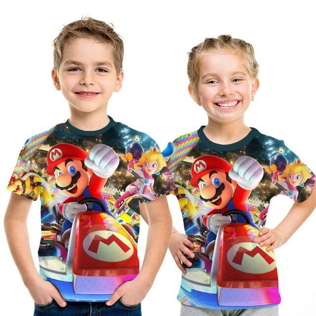 2019 nuevo juego Super María chico s camisetas divertidas camiseta a todo Color cuello redondo hrarjuku 3d Camisetas estampadas juego chicos chicas ropa Casual chico