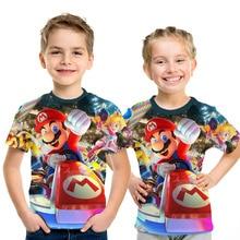 2019 yeni oyun süper Mary çocuklar komik üstleri T shirt tam renkli o boyun hrarjuku 3d baskılı Tees oyun erkek kız rahat giyim çocuk