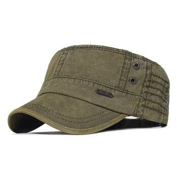 Washed Cotton Military Caps Men Cadet Army Cap Unique Design Vintage Flat Top Hat